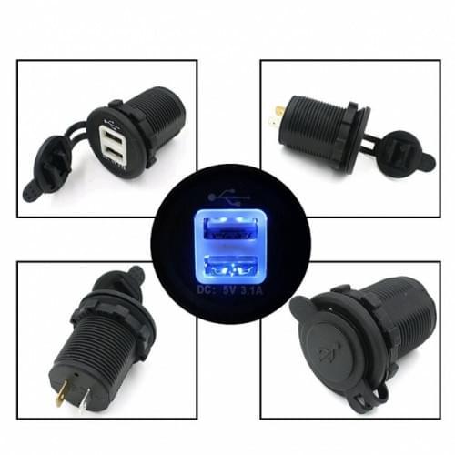 Разъем прикуривателя USB двойной с подсветкой